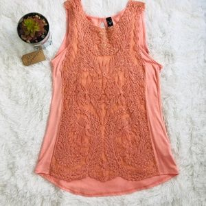 Windsor Peachy Pink Lace Sleeveless Blouse